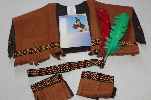 Indianer Set 4-tlg. Stirnband Federn Kragen Manschetten