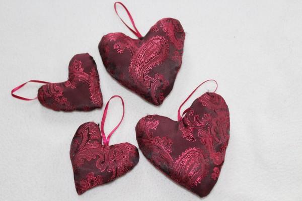 Herzen genäht 4 Stück Stoffherzen Dekoherzen