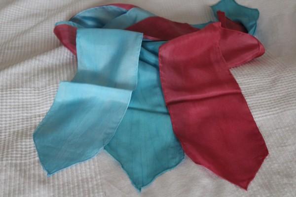 extra schmaler Seidenschal Schal weinrot oder blau