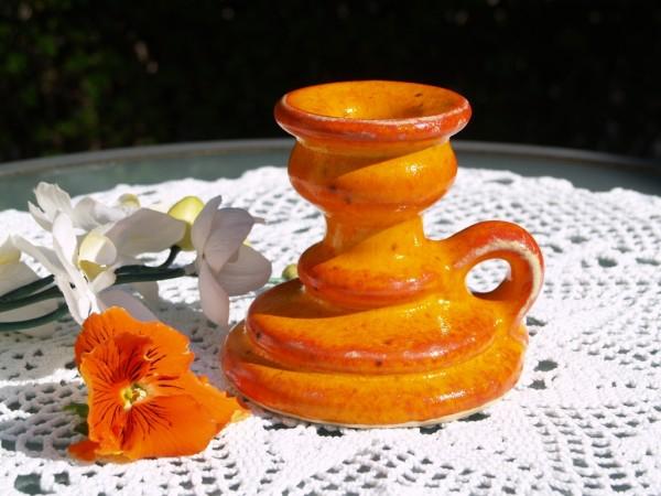 Kerzenständer für eine Kerze orange Keramik getöpfert