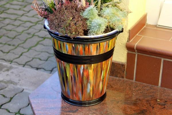 Alter Eimer von Hand bemalt Einzelstück Upcycling