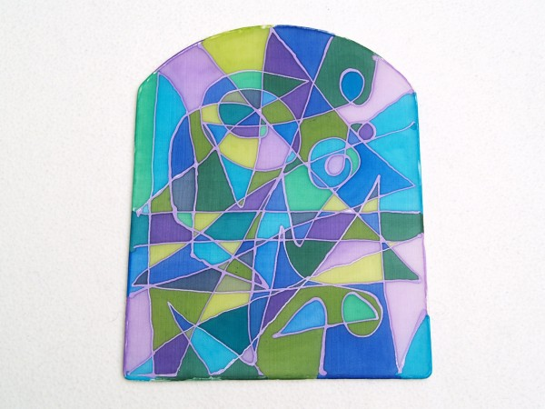Fensterbild Mosaik blau Bild aus Seide handgemalt