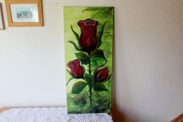Bild Rose handgemalt Acrylbild längliches Format