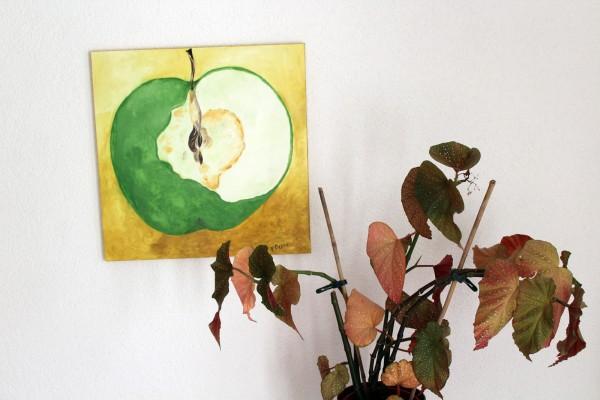 Der Apfel gemaltes Bild Stillleben 50 x 50 cm Acryl auf Leinwand