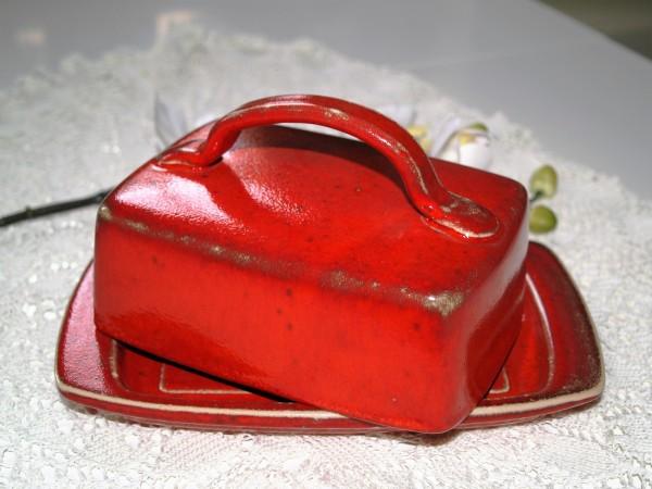 Butterdose rot mit Henkel aus Keramik rote Butterdosen Töpferware