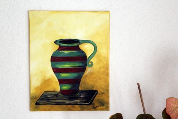 Der Krug Bild Stillleben gemalt 40 x 50 cm Acryl auf Leinwand