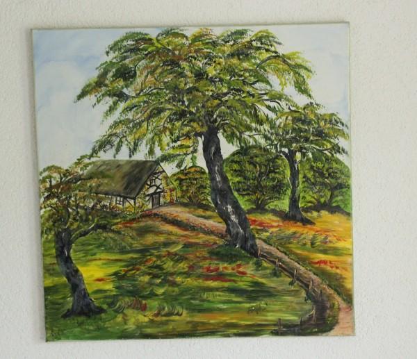 gemaltes Bild Auf dem Lande 58 x 58 Gemälde