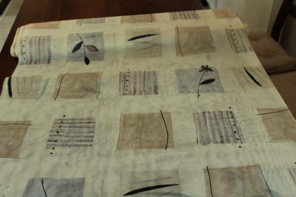 Stoff beige gemusterter Dekostoff transparent Vorhang Gardinen