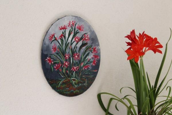 ovales Bild grau mit Blumen handgemaltes Acrylbild