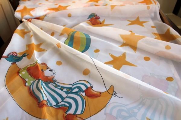 Gardinen Stoff für Kinder Gute Nacht Bär Voile