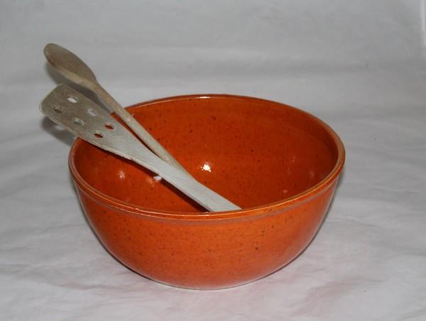 große Salatschüssel Keramik getöpfert orange Geschirr