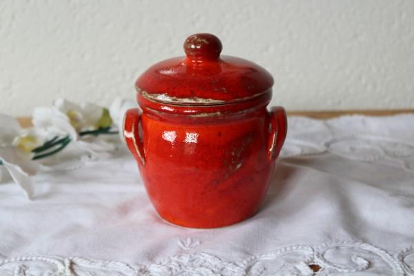 kleiner Vorratstopf Vorratsdose rote Keramik Serie