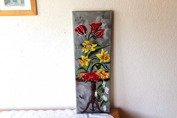 Bild Flowers handgemalt Acrylbild längliche Form