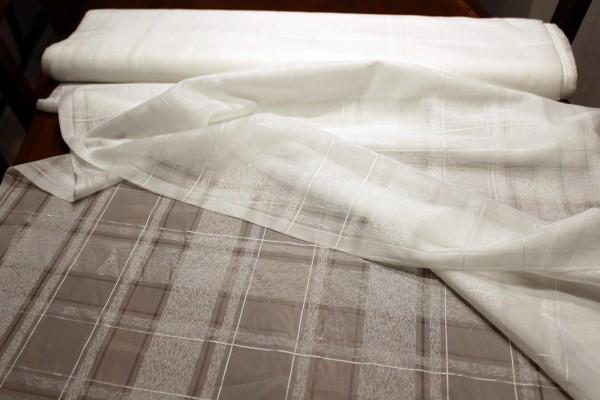 weißer eleganter Gardinen Stoff Stores B 150 cm