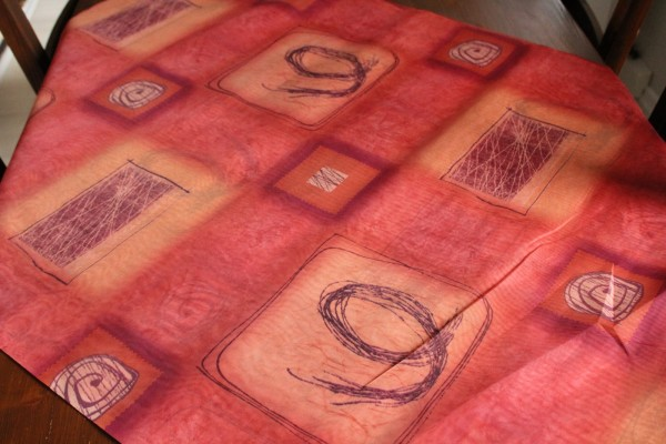 rot brauner Dekostoff Meterware transparenter Gardinen Stoff