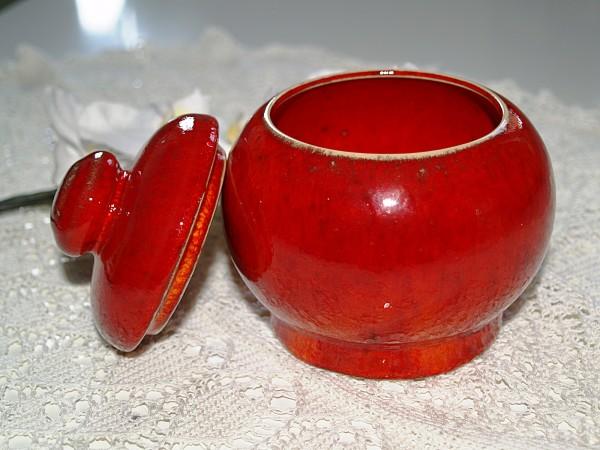Zuckerdose rot Keramik Töpferware