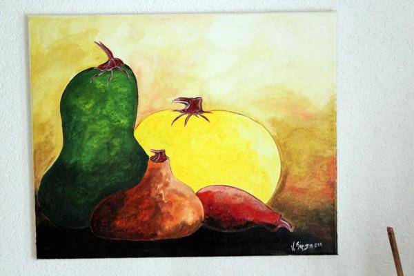 gemaltes Bild Kürbis Stillleben 50 x 40 Wandbild