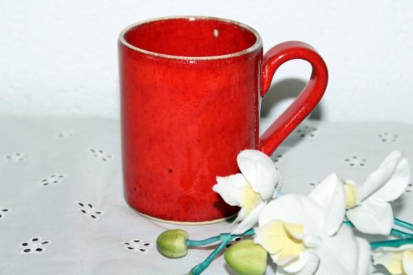 Kaffeebecher rot Tasse getöpfert Kaffeetasse