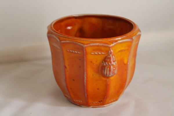 Blumentopf getöpfert Blumen Übertopf groß orange Keramik