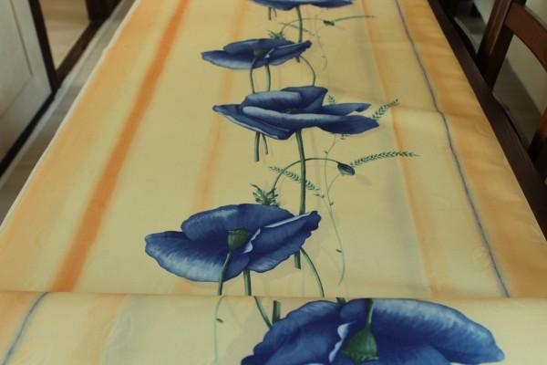 Dekostoff Mohnblumen blau Vorhang Stoff Meterware