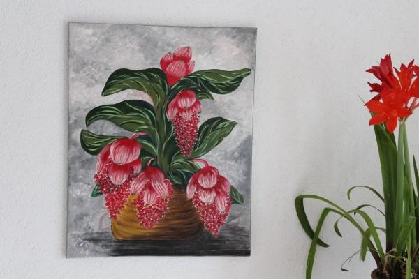 Bild Stillleben rote Blume handgemaltes Einzelstück