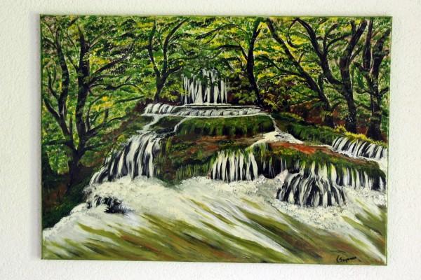 Bild Wasserfall Landschaft 70 x 50 Acryl Unikat