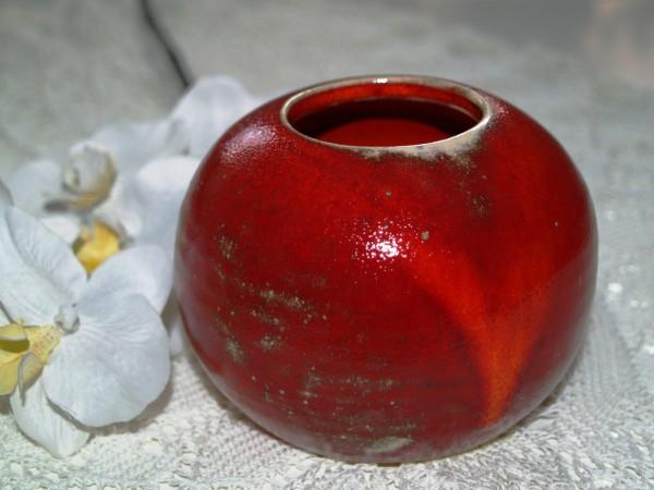 Kugelvase rote Vase aus Keramik getöpfert Handarbeit