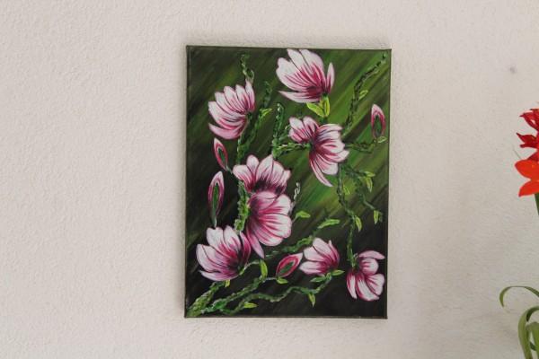 handgemaltes Bild Blumenranken 30 x 40 Gemälde mit Blumen