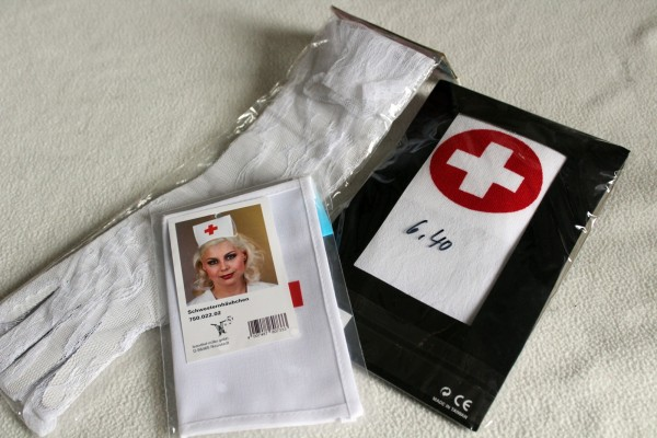Krankenschwester Kostüm Set Strümpfe Handschuhe Haube