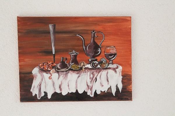 Bild gemaltes Stillleben gedeckter Tisch Leinwand 40x30