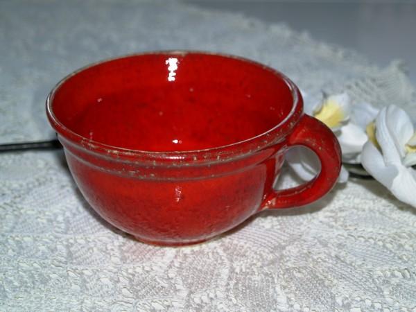 Tasse flach Kaffeetasse Teetasse getöpfert rot