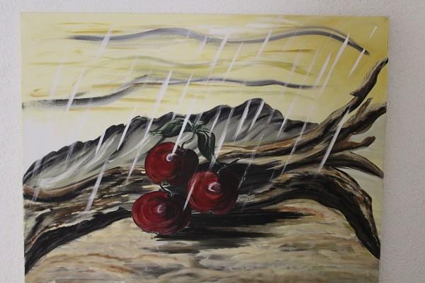 gemaltes Bild Stillleben Kirschen 75 x 57 Acryl auf Leinwand