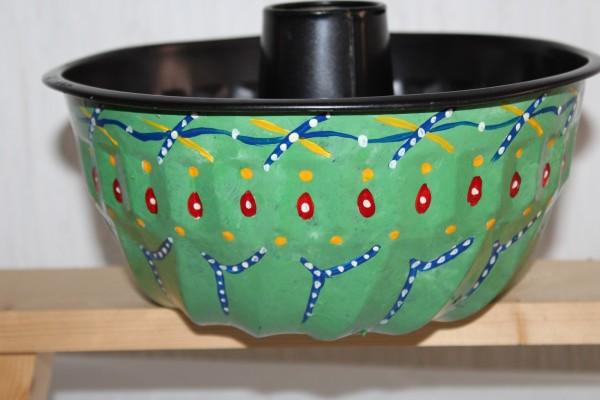 Kugelhupf Kuchenform handbemalt Pflanzgefäß Einzelstück