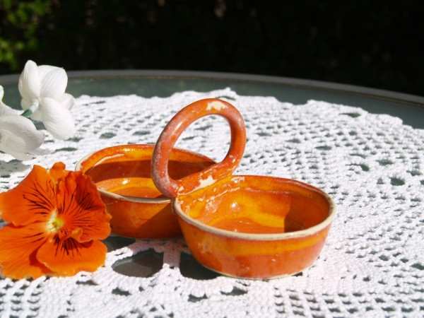Pfeffer & Salz Menage getöpfert orange Keramik Serie