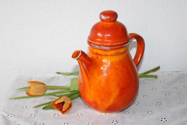 Kaffeekanne Keramik orange Serie Kanne Töpferware Handarbeit