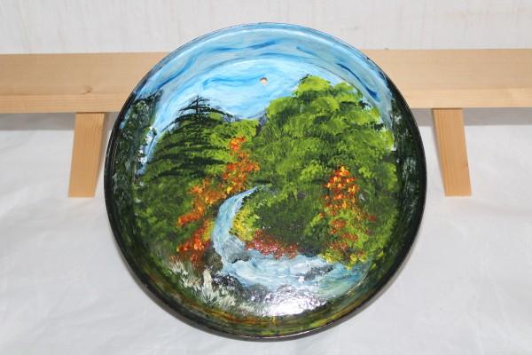 Alter Teller bemalt Wandteller Landschaft