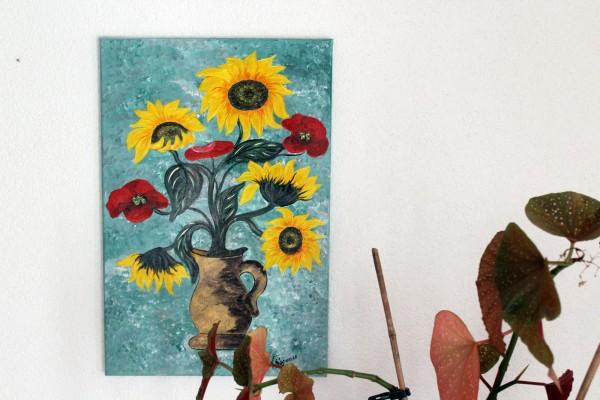 Bild Sonnenblumen und Mohn 40 x 60 cm gemaltes Einzelstück