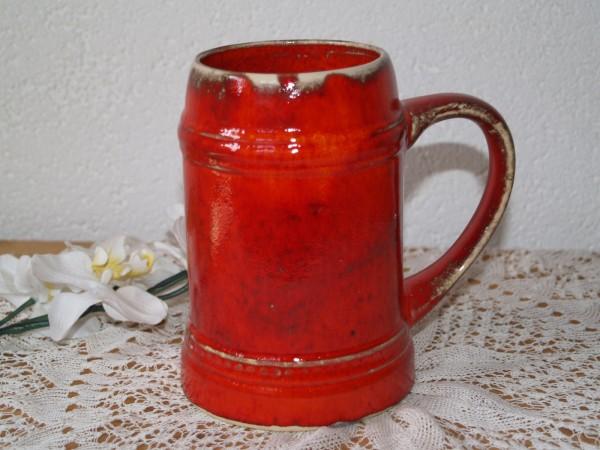 Bierkrug rote Keramik großer Krug Bembel Humpen