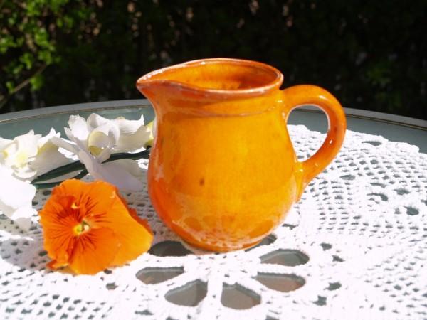 Milchkännchen Keramik Sahnekännchen orange