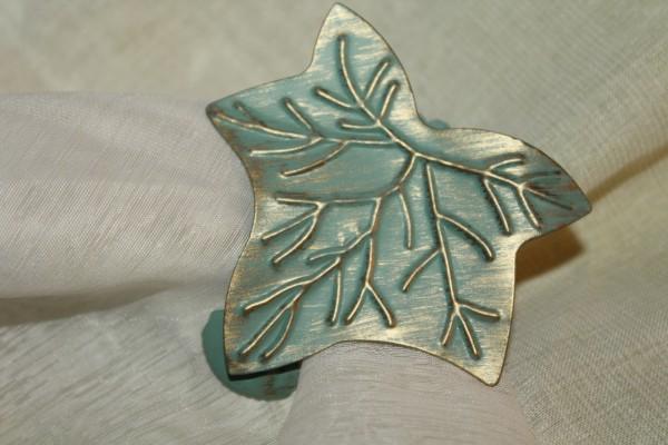 Gardinen Klammer Blatt Motiv Raffhalter grün antik
