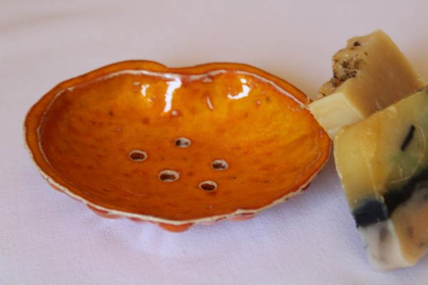 Seifenschale orange Keramik Töpferei Handarbeit
