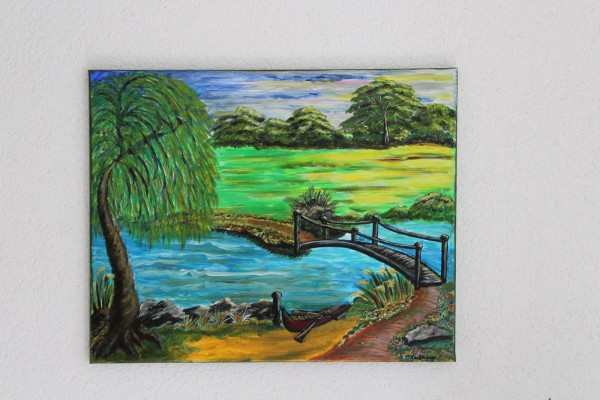 Bild Brücke am Fluss Gemälde Landschaft 50 x 40