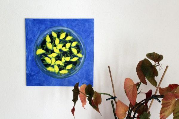 gemaltes Bild Zitronen Stillleben 50 x 50 cm Acryl auf Leinwand