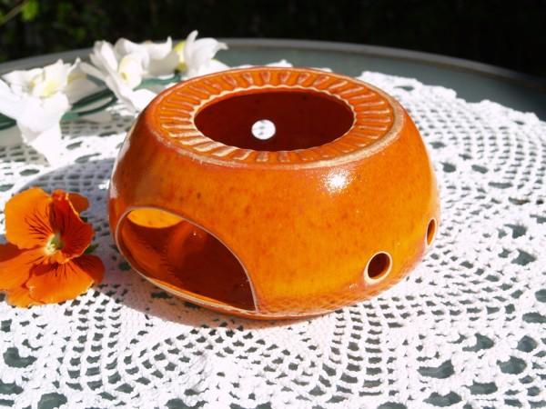 Stövchen getöpfert orange Keramik Handarbeit