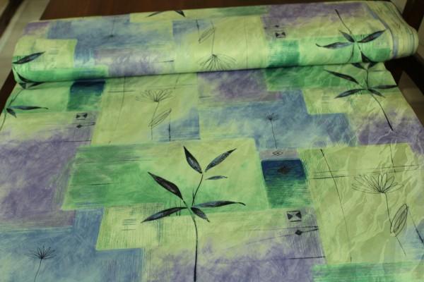 Stoff Dekostoff grün lila Muster Meterware Vorhang Gardinen