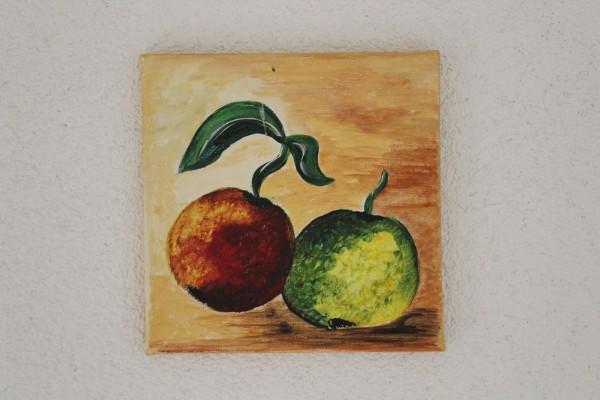 Küchenbild kleines Bild mit Äpfeln handgemalt