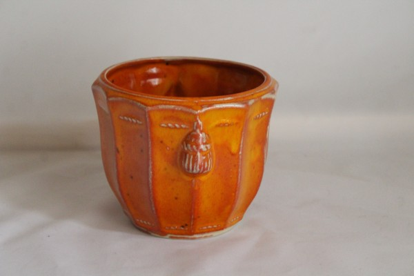 Blumentopf klein Blumen Übertopf orange Keramik getöpfert