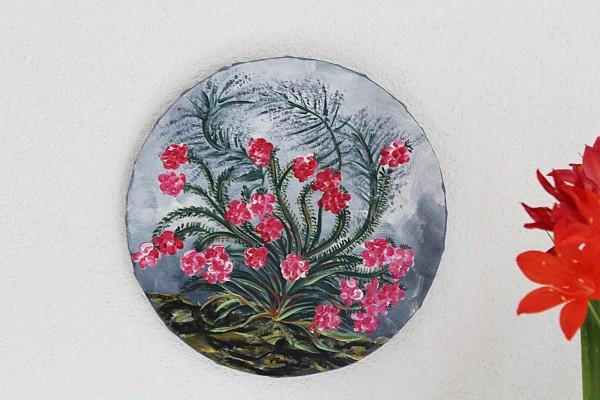 rundes Bild mit Blumen handgemaltes Acrylbild