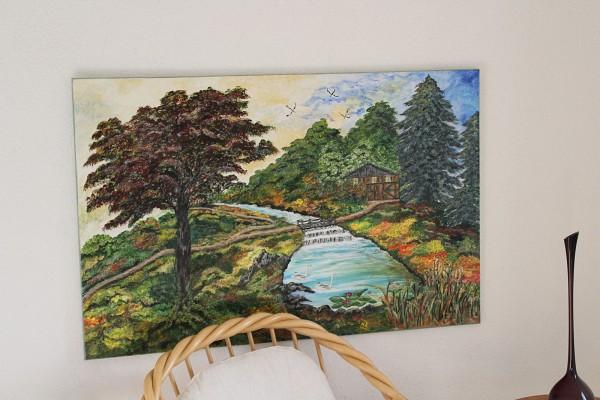 extra großes Landschaftsbild Bild gemalt Leinwand 115 x 75 cm