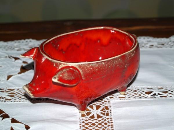 Servier Schwein Schale für Hackfleisch rote Keramik